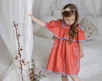 Pink girls flutter dress-Decorated cotton dress-Toddler ruffle dress-Denim toddler dress-Summer baby cotton dress-Birthday girls dress