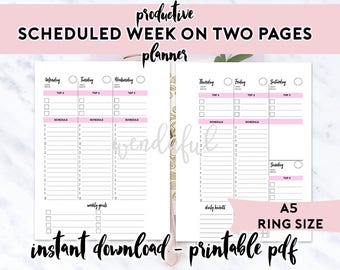 A5 Size Ring Bound - Productive Scheduled Week on Two Pages Planner