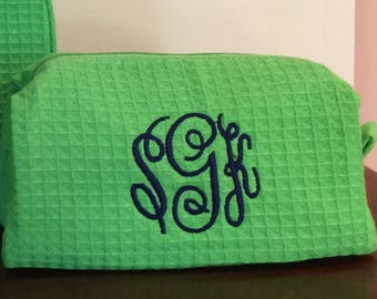 Small Monogrammed Cosmetic Bag - Personalized small size makeup bags - Purse sized make up case - Bridesmaids makeup bags