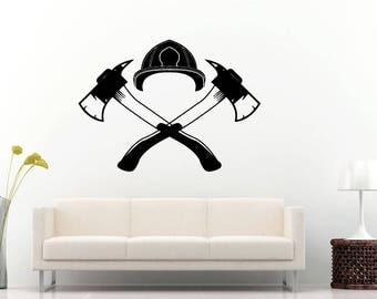 Fire Department Fireman Rescue Team Fireman Helmet Axe Wall Sticker Decal Vinyl Mural Decor Art L2280