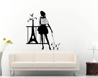 Paris Eiffel Tower Sight Seeing Traveling France Paris With Love Fashion Girl Poodle Dog Wall Sticker Decal Vinyl Mural Decor Art L2299