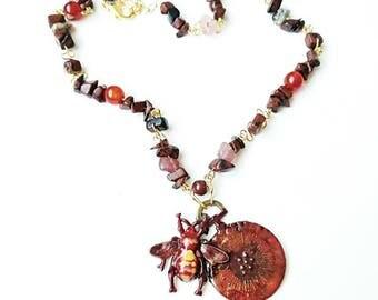Bee clock pendant deep red locket necklace gemstone chain hand painting jewelry Bee clock fase metal jasper agate Watch Bee metal pendant