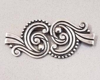 Vintage LOS CASTILLO Brooch Pin -  Taxco Mexico Sterling Silver 925 - Mid Century Modern - Circa 1940's