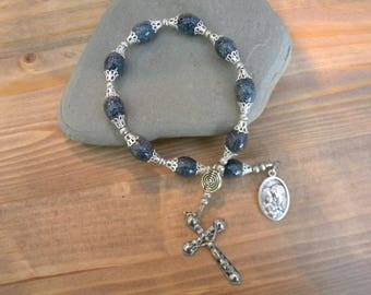 One decade rosary with blue speckled glass beads