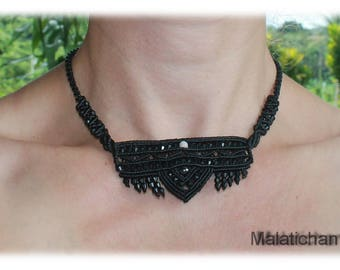 Goth Style Bib Necklace with Black Facetted Glass Beads