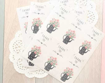 Sweet  Spring Time THANK YOU Flower Gift Seal Stickers/ Gift Wrapping labels/12pcs/2 sheets