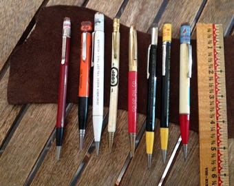 Lot of 8 Vintage Mechanical Pencils Advertising Old Phone Numbers