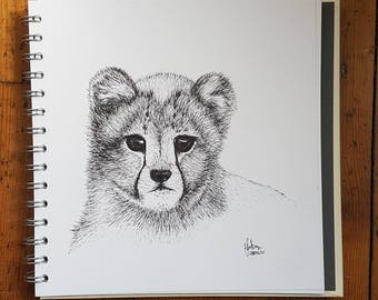 Cute Fluffy Cheetah Cub Pen Drawing -  Original Illustration