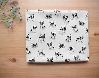 white french bulldog fabric 1/2 yard