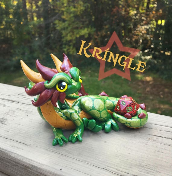Polymer Clay Dice Holder Dragon- Leaf Green, Gold, and Deep Red Dragonling: Kringle
