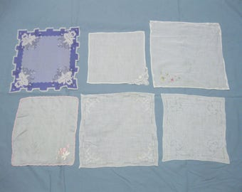 Vintage Group of 6 Ladies Hankies Handkerchiefs Nice Condition Appliqued Embroidered Free Shipping See Details