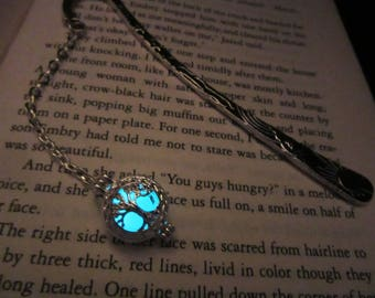 Tree pendant // silver bookmark glow in the dark