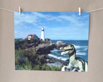 Dinosaur Raptor Photo Print, Portland Head Light, Maine