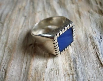 Ring in Silver 925 agate and pinky chevalier unisex frame with square