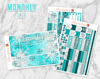 December Ice Queen Monthly Overview Kit | Christmas Monthly Overview Planner Sticker kit for Erin Condren Life Planners