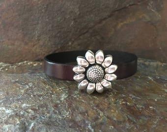 Sunflower Leather Bracelet