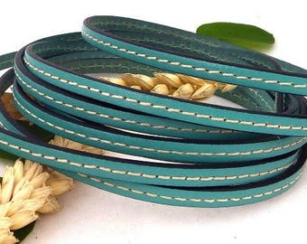1 meter of watery green flat leather 5mm white
