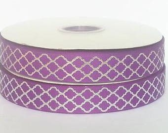 "7/8 inch Silver Foil Link on Purple 7/8"" - Printed Grosgrain Ribbon for Hair bow"