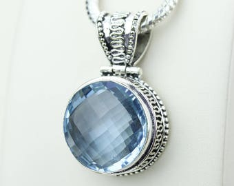 Round Shapped Swiss Blue Topaz Vintage 925 S0LID Sterling Silver Pendant + 4MM Snake Chain & Worldwide Shipping p4233