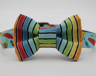 Rainbow Stripe Dog Bow Tie, Dog Collar Bow Tie, Large Dog Bow Tie, Small Dog Bow Tie, Custom Dog Bow Tie, Hipster Dog Bow Tie, Wedding