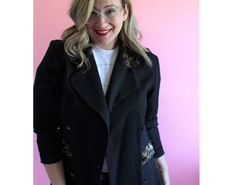 Vintage 90s Black Blazer with Animal Print Collar and Accents