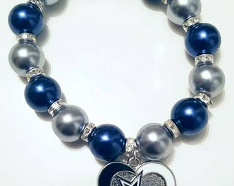Dallas, Silver, Football, Cowboys, Bracelet, Special Gift, Love Gift, Redskins, Bracelet, Mother's Day, NFL, N.Y. Giants, Washington