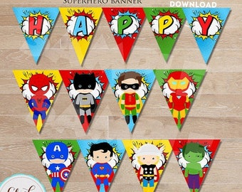 50% OFF SALE Superhero Banner, Super Hero Birthday Banner, Superheroes Birthday Party Printable, Birthday party decorations INSTANT Download