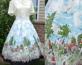 "Vintage 1950's Novelty Skirt, Americana, Old Wild West, Covered Wagons, Settlers, Midwest, Millworth Converting Corp Style Print, 28"" Waist"