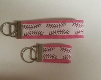 Pink Foil Softball Lace on White Keyfob Keychain Wristlet