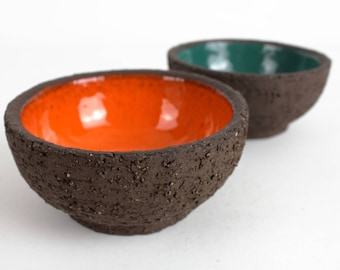 Vintage ceramic bowl set orange green, West German Pottery, Mid Century, 70s