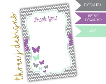 Butterfly Baby Shower Thank You Card - INSTANT DOWNLOAD - Gray, Lavender, and Mint - Digital File - J005