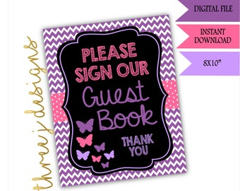 Butterfly Baby Shower Guest Book Table Sign - INSTANT DOWNLOAD - Purple and Pink - Digital File - J002