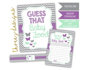Butterfly Baby Shower Guess That Baby Food Game Cards, Labels and Sign - INSTANT DOWNLOAD - Gray, Lavender and Mint - Digital File - J005