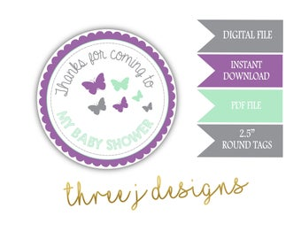 Butterfly Baby Shower Thank You Favor Tags - INSTANT DOWNLOAD - Gray, Lavender and Mint - Digital File - J005