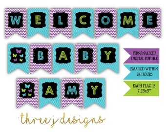 Butterfly Baby Shower Personalized Welcome Baby Banner - Purple, Teal and Green - Digital File - J006