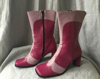 Pink Shelly's soft leather boots in UK 5 (Best suits a 4) unworn mid calf boots