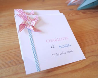 Birth announcements - baptism - thank you mill mixed wind - pastel blue pink - handmade