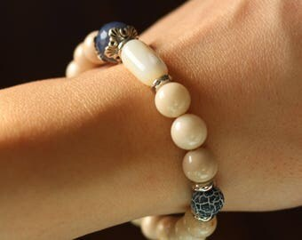 Stone bracelet, fossil stone, agate