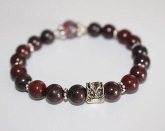 Stone bracelet, brecciated jasper, agate, owl charm