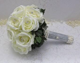bling bouquet/bridal bouquet/artificial bouquet/ivory bridal bouquet/bling bridal bouquet/keepsake bouquet/vintage bouquet