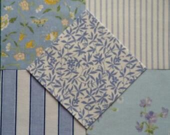 50  Laura Ashley Fabric Vintage 1970s/80s Patchwork Pieces ~Sapphire Blue~