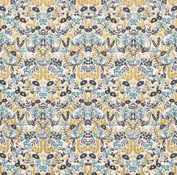 Changing Pad Cover >> Rifle Paper Co. Menagerie Tapestry in Natural >> Made-to-Order blue changing pad, gold metallic changing pad, jungalow