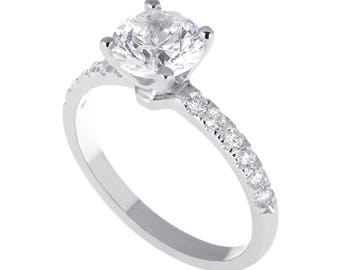 1.00 CT Real Round Cut Diamond Engagement Ring 14K White Gold F/SI1