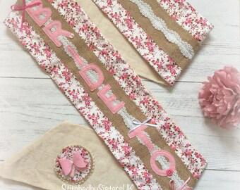 Bride to Be sash pink vintage hen party sash