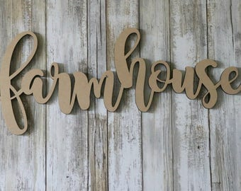 farmhouse sign, blessed, gather wood cutouts, cursive wood cut out, mdf, wood sign