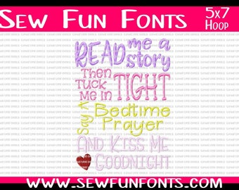 Read Me A Story, Then Tuck Me In Tight, Say A Bedtime Prayer, Kiss Me Goodnight ~ Subway Art Machine Embroidery Design INSTANT DOWNLOAD