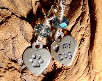 Dog Lover's Earrings, Valentine Heart Dog Lovers dangle with blue crystal Earrings