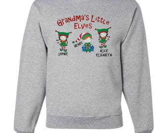 Personalized Holiday Elf Themed Sweatshirt For Grandma - Embroidered Design With Names