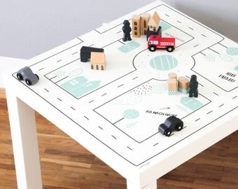 Kids room Play table: Furniture sticker SMASTAD for IKEA LACK side table (1M-ST10-01) - Perfect gift for toddler - Furniture not included