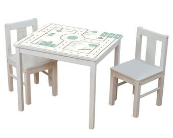 Play table for your kids room: Furniture sticker SMASTAD for IKEA KRITTER children's table (1M-ST10-02) - Furniture not included